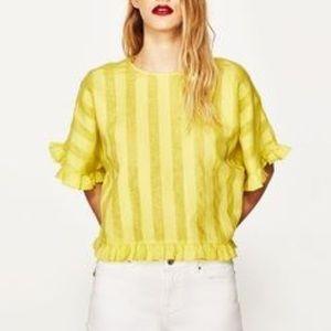 Zara Linen Blouse Ruffle Striped Oversized Cropped